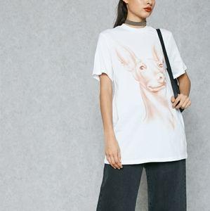 Kendall & Kylie dog print longline t-shirt